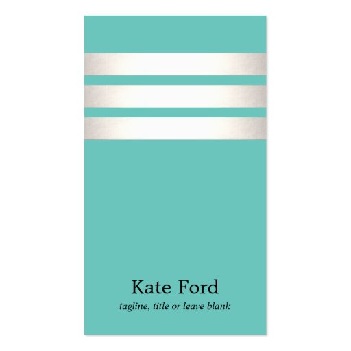 Cool Faux Silver Foil and Turquoise Striped Modern Double-sided Standard Business Cards (pack Of 100)