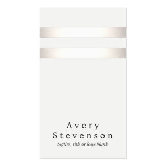 Cool Faux Silver Foil and White Striped Modern 2 Double-Sided Standard Business Cards (Pack Of 100)