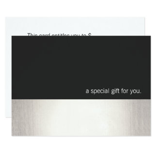 Cool Faux Silver Stripe Modern Gift Certificate Card