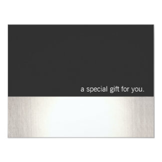 Cool Faux Silver Stripe Modern Gift Certificate Card