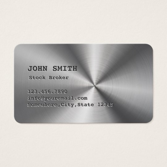 Cool Faux Steel Stock Broker Business Card