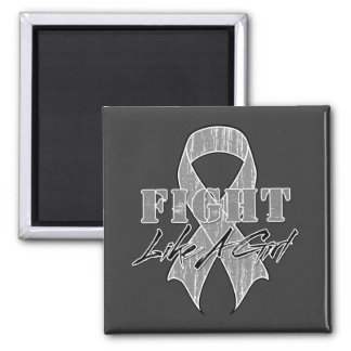 Cool Fight Like A Girl Brain Cancer 2 Inch Square Magnet
