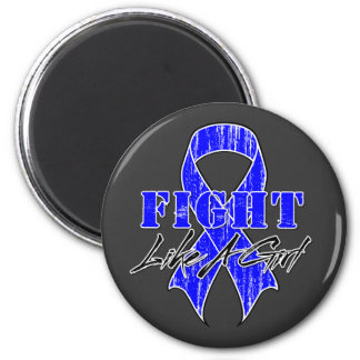 Cool Fight Like A Girl Rectal Cancer 2 Inch Round Magnet