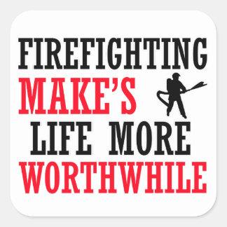 cool firefighter design square sticker