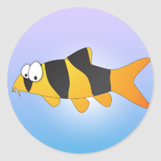 Cool fish - Clown loach Round Stickers