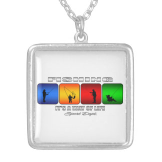 Cool Fishing It Is A Way Of Life Silver Plated Necklace