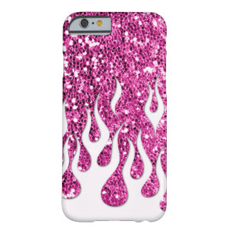 Cool Flames in White on Pink Glitter Look iPhone 6 Case