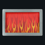 """Cool Flames on Red Background Belt Buckle<br><div class=""""desc"""">Cool Flames on Red Background</div>"""