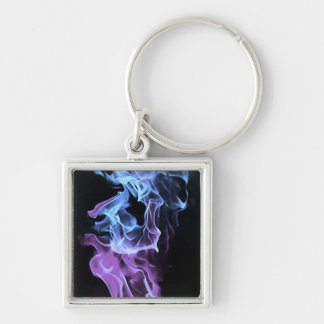 Cool Flames Silver-Colored Square Keychain