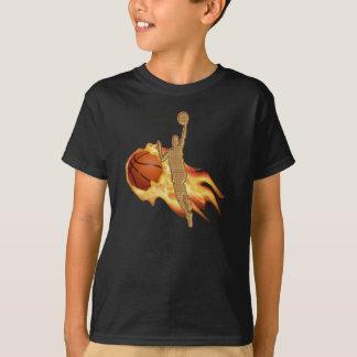 Cool Flaming Basketball Shirt with Player Layup