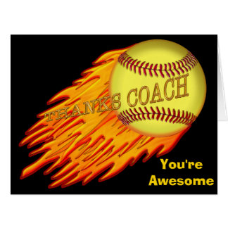 Cool Flaming BIG Softball Thanks Coach Cards