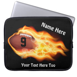 Cool Flaming Football Laptop Case, PERSONALIZED Computer Sleeve