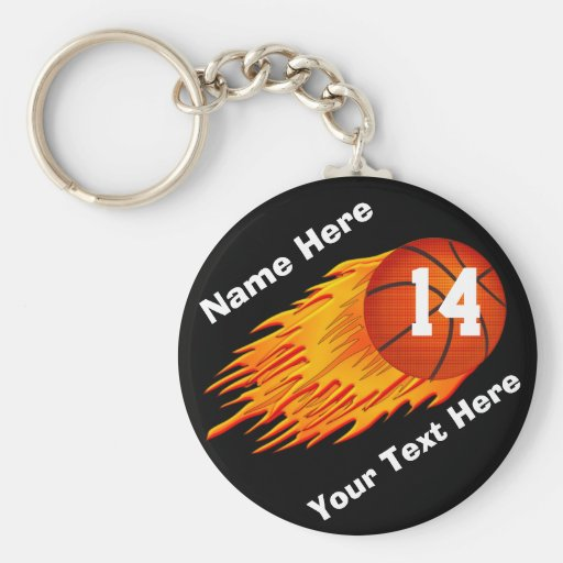 Cool Flaming Personalized Basketball Keychains Keychain