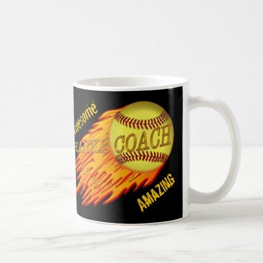 Cool Flaming Softball Coach Gifts Are Customizable Mugs