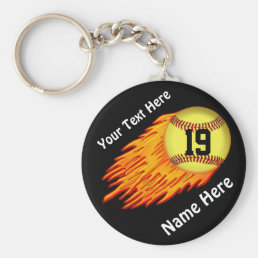 COOL Flaming Softball Team Gift Ideas NAME, NUMBER Keychain