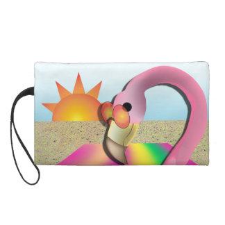 Cool Flamingo Beach Clutch Wristlet