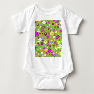 Cool Floral Pattern Colorful Scrapbooking Green Baby Bodysuit