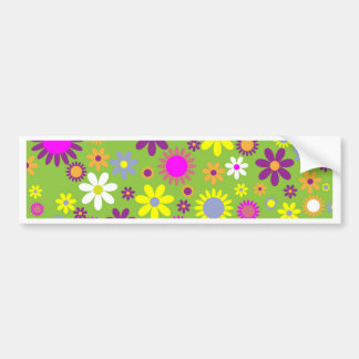 Cool Floral Pattern Colorful Scrapbooking Green Bumper Sticker