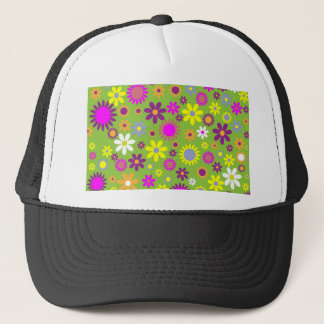 Cool Floral Pattern Colorful Scrapbooking Green Trucker Hat