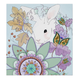 Cool Floral Rabbit Poster