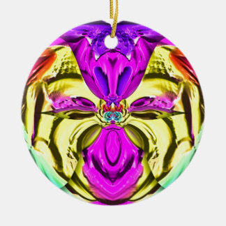 Cool Flourescent Pastel Abstract Pattern Ceramic Ornament