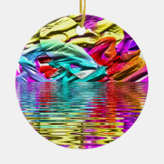 Cool Flourescent Pastel Abstract Water Ripples Ceramic Ornament