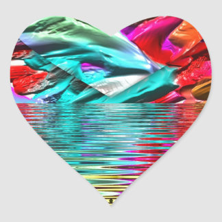 Cool Flourescent Pastel Abstract Water Ripples Heart Sticker