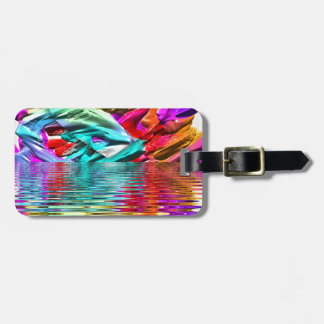 Cool Flourescent Pastel Abstract Water Ripples Luggage Tag