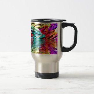 Cool Flourescent Pastel Abstract Water Ripples Travel Mug