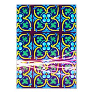 Cool Flower Art Tile Design with Light Trails Card