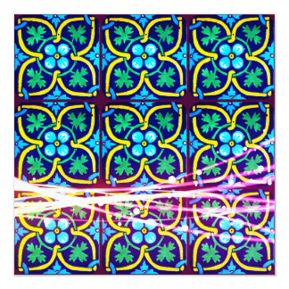 Cool Flower Art Tile Design with Light Trails Card