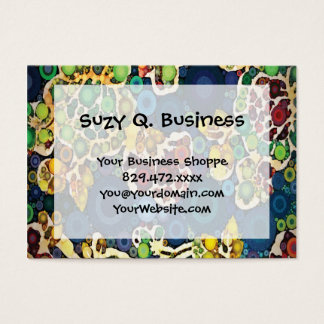 Cool Flower Mosaic Concentric Circles Art Design Business Card