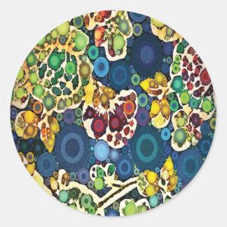 Cool Flower Mosaic Concentric Circles Art Design Classic Round Sticker