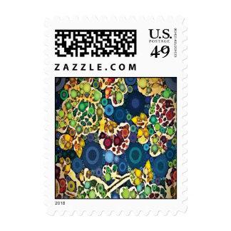 Cool Flower Mosaic Concentric Circles Art Design Stamp