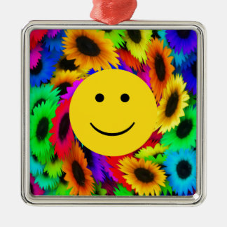 Cool Flowers Smiley Face Metal Ornament