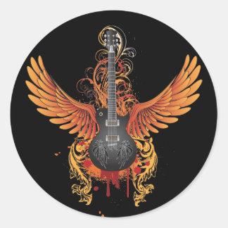 Cool Flying Guitar Sticker