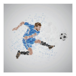 Soccer illustration posters zazzle cool football soccer player illustration poster voltagebd Images