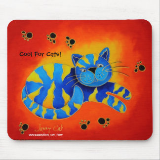 Cool For Cats!  - Smiley Smug Red Cat Mousepad