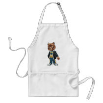 cat, kitten, school, cool cat, smiling, learning, lockers, art, drawing, al rio, happy, congrats, Apron with custom graphic design