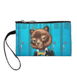 Cool For School Cat Drawing by Al Rio Change Purses