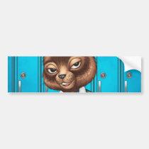cat, kitten, school, cool cat, smiling, learning, lockers, art, drawing, al rio, happy, congrats, Bumper Sticker with custom graphic design