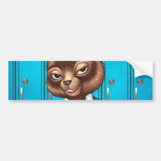 Cool For School Cat Drawing by Al Rio Car Bumper Sticker