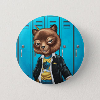 Cool For School Cat Drawing by Al Rio Button