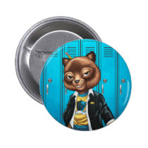 cat, kitten, school, cool cat, smiling, learning, lockers, art, drawing, al rio, happy, congrats, Button with custom graphic design
