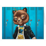 Cool For School Cat Drawing by Al Rio Card