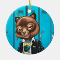 cat, kitten, school, cool cat, smiling, learning, lockers, art, drawing, al rio, happy, congrats, Ornament with custom graphic design