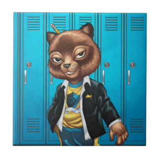 Cool For School Cat Drawing by Al Rio Ceramic Tile