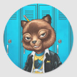 Cool For School Cat Drawing by Al Rio Classic Round Sticker