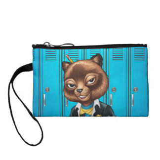 Cool For School Cat Drawing by Al Rio Coin Purse