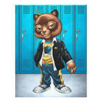 cat, kitten, school, cool cat, smiling, learning, lockers, art, drawing, al rio, happy, congrats, Flyer with custom graphic design